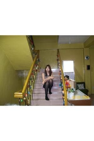 brown Mango blouse - black Marks and Spencer tights - pink ukay-ukay skirt