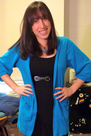 black H&M dress - sky blue kensie cardigan - black Forever 21 belt
