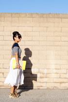 stripe Forever 21 shirt - neon Gap bag - linen thrifted skirt
