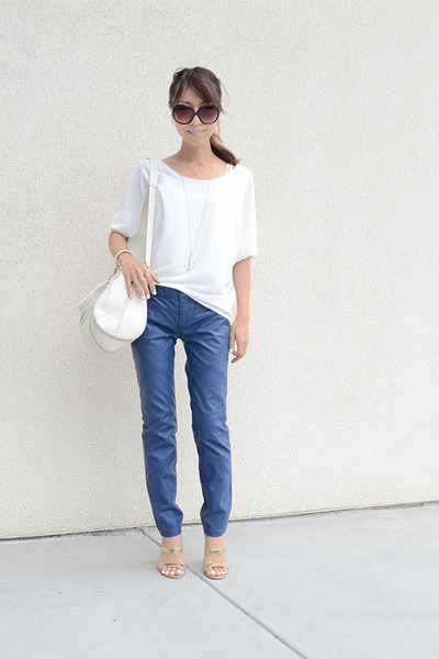 ivory botkier bag - blue free people pants - gold Steve Madden heels