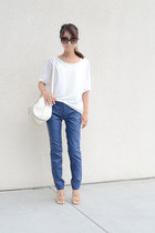 ivory botkier bag - blue free people pants - gold Steve Madden heels