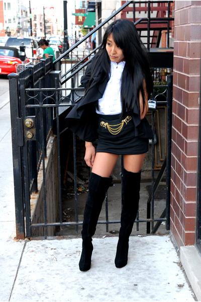 black AKIRA Black Label blazer - white AKIRA Black Label top - black Akira skirt