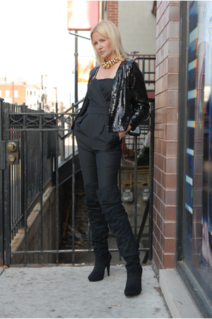 black H&M jacket - black Micheal Antonio boots - black American Apparel leggings