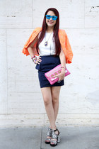 blue hm necklace - orange texture XOXO jacket