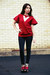 Dark-green-diy-cardigan-vintage-sweatshirt-red-elie-tahari-top