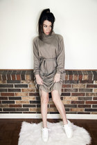 dark khaki soft minimalist vintage dress - white wedge Acne Studios shoes
