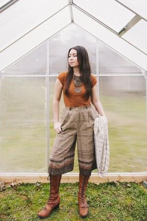 burnt orange Anthropologie boots - brown vintage pants