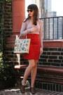 Red-leather-vintage-skirt