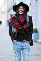 plaid Zara scarf - leather biker H&M jacket