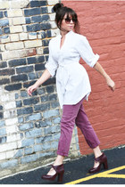 white dress - dark brown tortoise zeroUV sunglasses - light purple cuffed pants