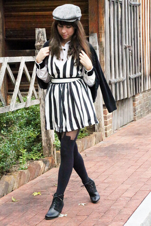 Esska shoes - striped OASAP dress - vintage hat - velvet cuffed vintage shirt