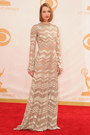 beige chevron Nicholas Oakwell dress - red halter Prada dress