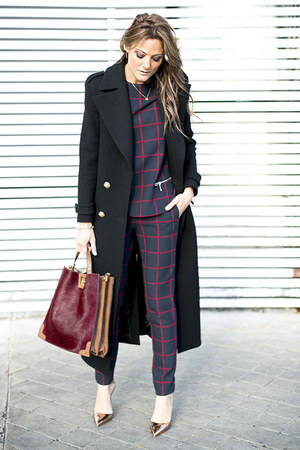 black grid print suit
