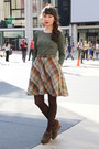 Plaid-vintage-skirt-esska-shoes-spiral-vintage-blouse