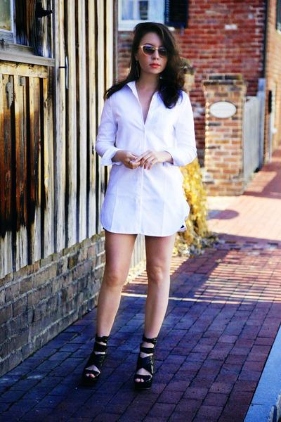 white Choies dress - beige cateye UO sunglasses - silver Choies earrings