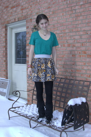 green Victorias Secret shirt - Forever 21 skirt - Gap tights - Minnetonka boots