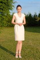 cream H&M dress - white Stradivarius heels