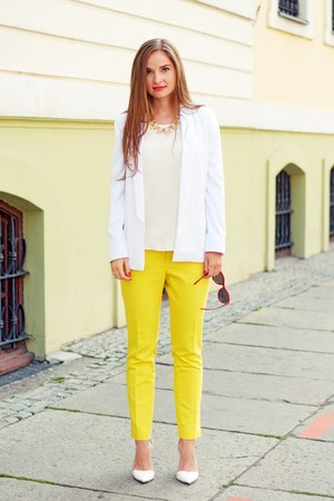 white handmade jacket - yellow H&M pants - white Stradivarius heels