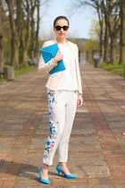 cream H&M blazer - sky blue H&M pants
