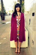 magenta cashmere vintage coat - shift vintage Lanvin dress