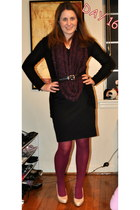 XOXO dress - kohls tights - H&M scarf - kohls cardigan - kohls belt - kohls heel