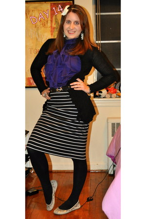 kohls cardigan - kohls top - White House Black Market skirt - American Eagle fla
