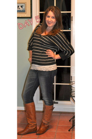 Steve Madden boots - Levis jeans - Target sweater - White House Black Market top