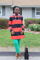 striped Tommy Hilfiger coat - Zac Posen bag