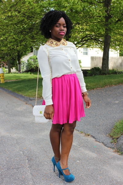 micro pleated Old Navy skirt - hm blouse