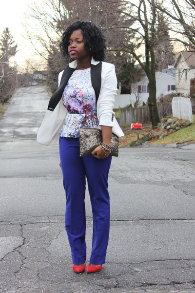 tuxedo Express blazer - print H&M top - J C Penny pants - Aldo heels