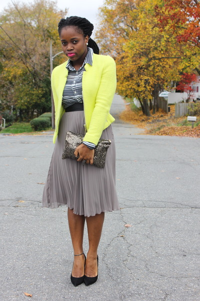 neon Zara coat - pleated H&M skirt - Aldo pumps