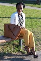 mustard New York and Company pants - shopper Zara bag