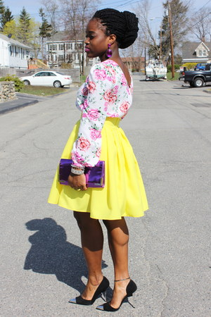 neon yellow self-made skirt - floral asos top - cap toe Bebe heels