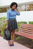 dotted chambray Forever 21 shirt - shopper Zara bag - pleated leather H&M skirt