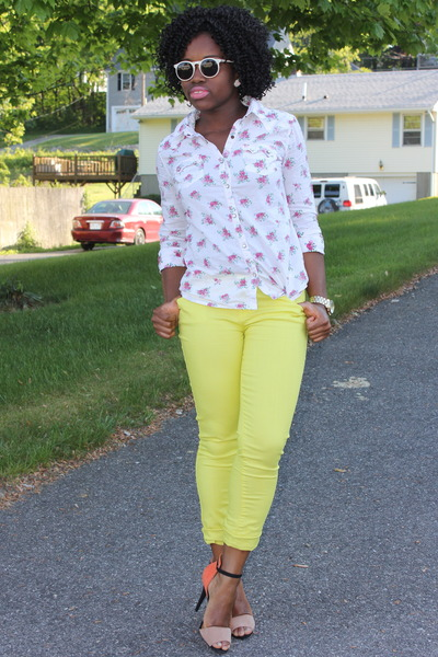 floral Target shirt - neon Forever 21 pants - color block Zara sandals
