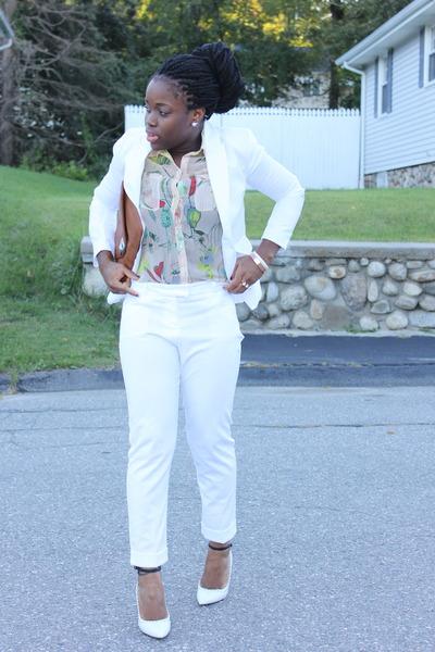 white Forever 21 blazer - white asos pants - ankle strap Aldo pumps