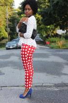 peplum H&M top - gingham asos pants - blue suede Aldo pumps