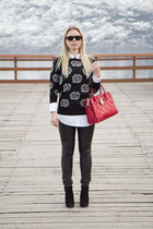 asos sweater - Michael Kors bag - faux leather Forever 21 pants
