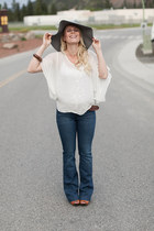 Gap jeans - American Apparel hat - Anthropologie blouse