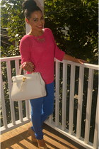 pink H&M sweater - white Aldo bag - blue JCPenney pants