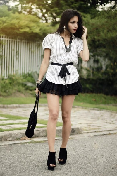 black santa lolla bag - white Zara blouse - black lace Dress to skirt