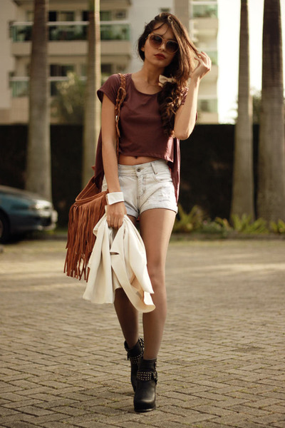 black Choies boots - bronze fringe Chicwish bag - magenta ClubCouture top