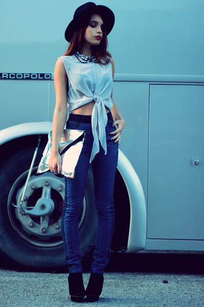silver Choies bag - black romwe necklace