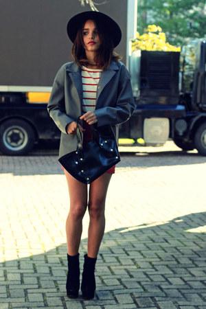 leather Front Row Shop jacket - Eugenia Ramero bag - Sheinside blouse