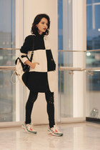 Prada earrings - woolen blackfive coat - nike sneakers