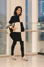 Woolen-blackfive-coat-prada-earrings-nike-sneakers
