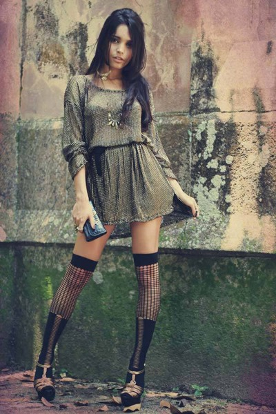 bronze romwe dress - black romwe tights - gold romwe earrings