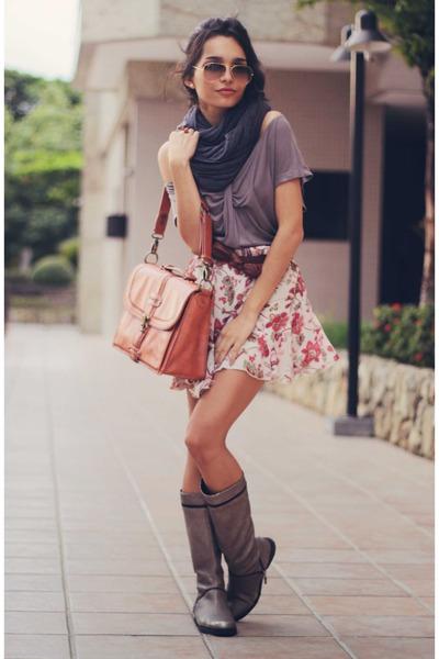 coral Nica bag - heather gray H&M shirt - charcoal gray American Apparel scarf