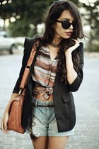 coral Sugar Lips Apparel top - black felicee blazer - coral Nica bag