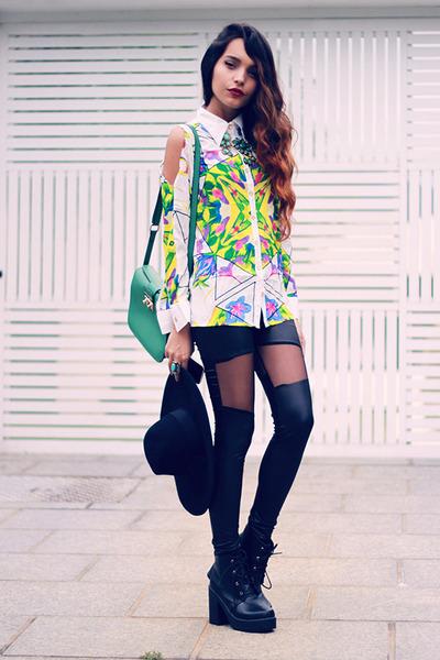 Zara hat - Zealotries leggings - Sheinside blouse